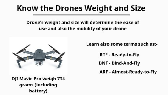 know the drones weight and size
