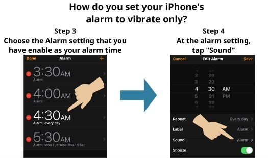 How to set iPhone alarm to vibrate only 4
