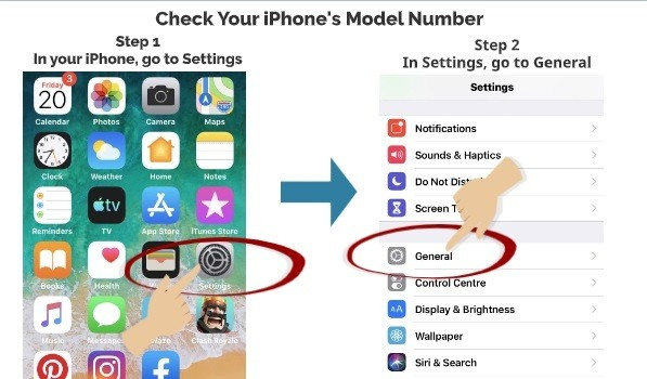 Check your iPhone Model Number Step 1 Step 2