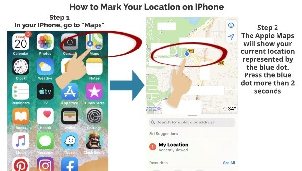 How to Mark Your Location on iPhone Step 1 Step 2