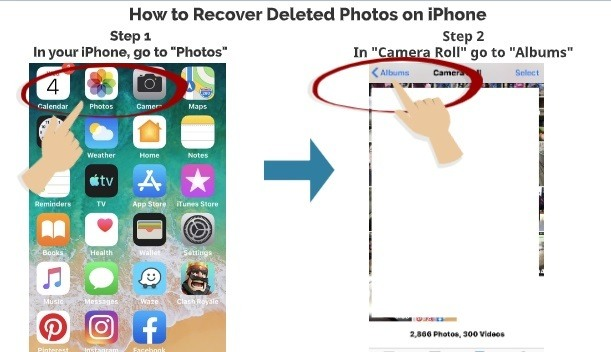 How to recover deleted photos on iPhone step 1 step 2