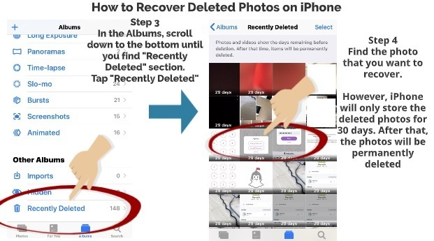 How to recover deleted photos on iPhone step 3 step 4