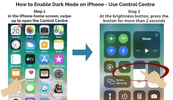 How to Enable Dark Mode on iPhone use Control Centre 1